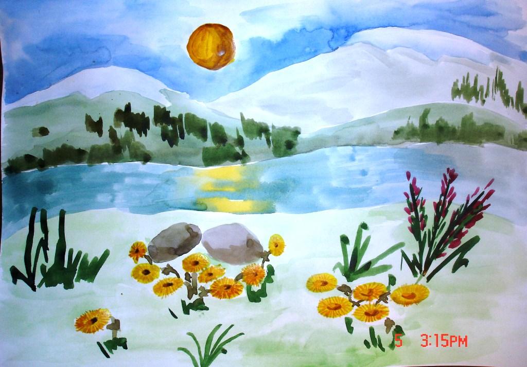 пейзажи природы детский рисунок